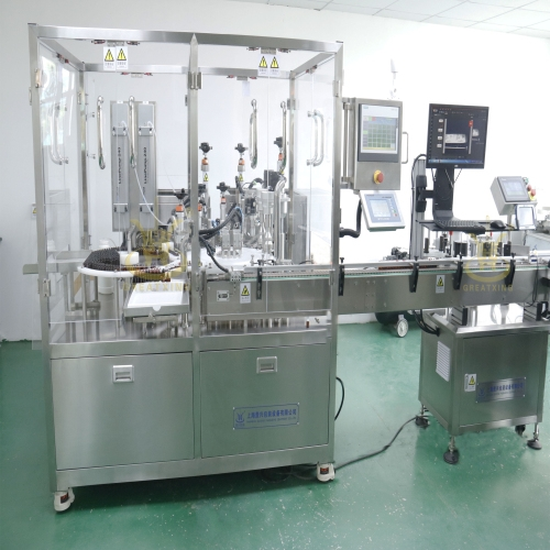 免疫试剂灌装旋盖贴标生产线客户检收合格