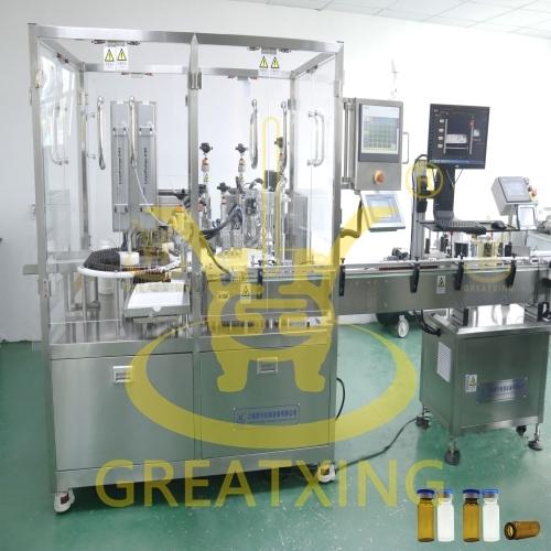 免疫试剂灌装旋盖贴标生产联动线